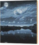 Moonlight Over A Lake Wood Print by Jaroslaw Grudzinski