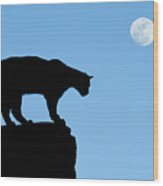 Moonrise And Cougar Wood Print by Sandra Bronstein