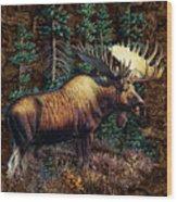 Moose Vignette Wood Print by JQ Licensing