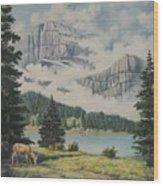 Morning At The Glacier Wood Print by Wanda Dansereau