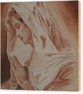 Mother Mary Wood Print by Mike Hinojosa