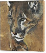 Mountain Lion - Guardian Of The North Wood Print by J W Baker