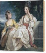 Mrs Thrale And Her Daughter Hester Wood Print by Sir Joshua Reynolds