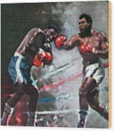 Muhammad Ali And Joe Frazier Wood Print by Ylli Haruni