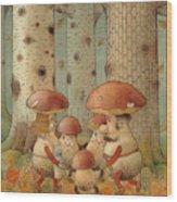 Mushrooms Wood Print by Kestutis Kasparavicius