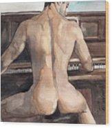 Musician Wood Print by Yuliya Podlinnova