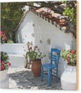 My Greek Garden Wood Print by Yvonne Ayoub