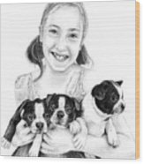 My Puppies Wood Print by Mike Ivey