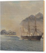 Naval Battle Of The Strait Of Shimonoseki Wood Print by Jean Baptiste Henri Durand Brager