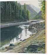 Near Horse Creek Wood Print by Steve Spencer