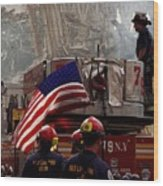 New York Firefighters And Salt Lake Wood Print by Everett