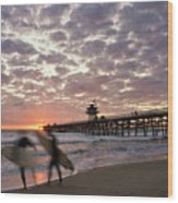 Night Surfing Wood Print by Gary Zuercher