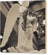 Nike Goddess Of Victory Sepia Wood Print by Linda Phelps