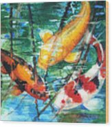 November Koi Wood Print by Patricia Allingham Carlson
