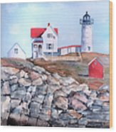 Nubble Lighthouse - Maine Wood Print by Arline Wagner