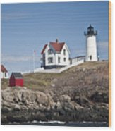 Nubble Lighthouse Wood Print by Thomas  Jarvais