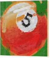 Number Five Billiards Ball Abstract Wood Print by David G Paul
