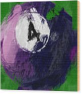 Number Four Billiards Ball Abstract Wood Print by David G Paul