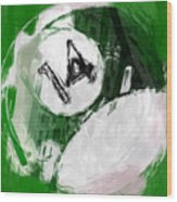 Number Fourteen Billiards Ball Abstract Wood Print by David G Paul