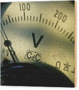 Numbers On The Dial Of A Voltmeter Wood Print by Sami Sarkis