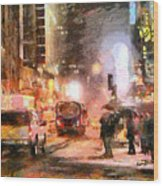 Nyc At Night Wood Print by Anthony Caruso
