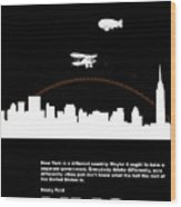 Nyc Night Poster Wood Print by Naxart Studio