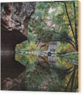 Oak Creek Canyon Reflections Wood Print by Dave Dilli