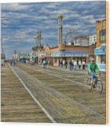 Ocean City Boardwalk Wood Print by Edward Sobuta