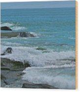 Ocean Roll Wood Print by Debra     Vatalaro