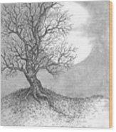 October Moon Wood Print by Adam Zebediah Joseph