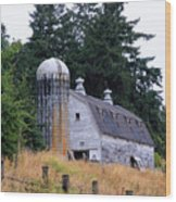 Old Barn In Field Wood Print by Athena Mckinzie