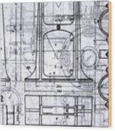 Old Blueprints Wood Print by Yali Shi
