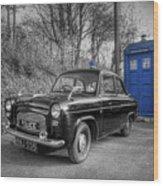 Old British Police Car And Tardis Wood Print by Yhun Suarez
