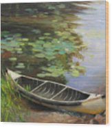 Old Canoe Wood Print by Anna Rose Bain