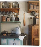 Old Country Kitchen Wood Print by Carmen Del Valle