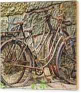 Old French Bicycles Wood Print by Debra and Dave Vanderlaan