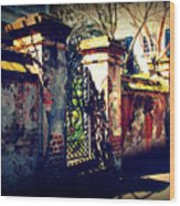 Old Iron Gate In Charleston Sc Wood Print by Susanne Van Hulst