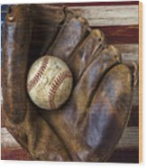Old Mitt And Baseball Wood Print by Garry Gay