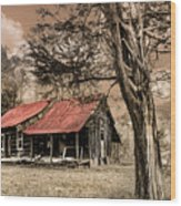 Old Mountain Cabin Wood Print by Debra and Dave Vanderlaan