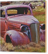 Old Rusty Car Bodie Ghost Town Wood Print by Garry Gay