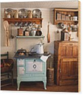 Old Time Farmhouse Kitchen Wood Print by Carmen Del Valle