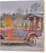 Old Truck And Gas Filling Station Wood Print by Douglas Barnett