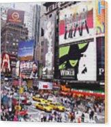 On Broadway New York Wood Print by Rosie Brown