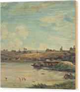 On The Loire Wood Print by Charles Francois Daubigny