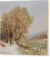 On The River Neckar Near Heidelberg Wood Print by Joseph Paul Pettit