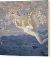 On The Wings Of The Morning Wood Print by Edward Robert Hughes