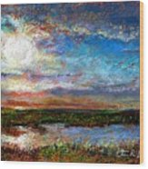 Over The Marsh Wood Print by Peter R Davidson
