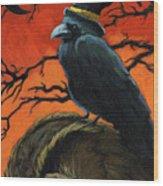 Owl And Crow Halloween Wood Print by Linda Apple