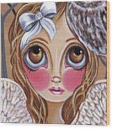Owl Angel Wood Print by Jaz Higgins