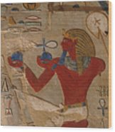 Painted Relief Of Thutmosis IIi Wood Print by Kenneth Garrett